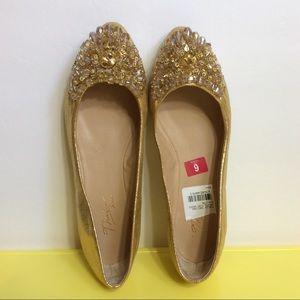 Thalia Sodi Shoes - Thalia Sodi Gold Jewel Flats Size 6