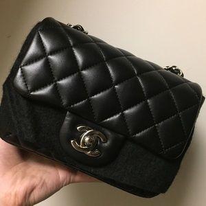 CHANEL Handbags - Chanel Square Mini Black Lambskin