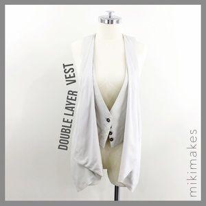 Zara Jackets & Blazers - ZARA • double layer drape front vest