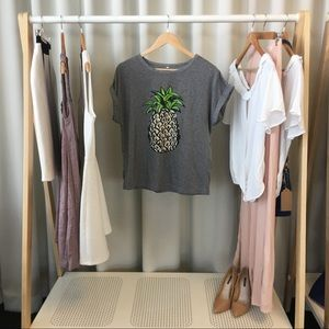 Tops - Gray Pineapple Tee With Rolled Sleeves