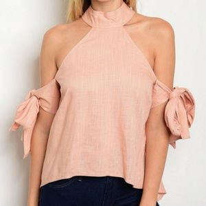 Glam Vault Tops - COMING SOON! Pink Cold Shoulder Choker Top