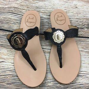 Jack Rogers Shoes - Jack Rogers leather slip on sandal black