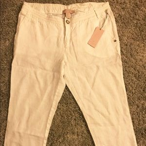 St. Tropez Pants - St. Tropez West White Linen Crop pants