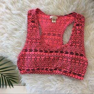 Bright Coral Tribal Print Sports Bra