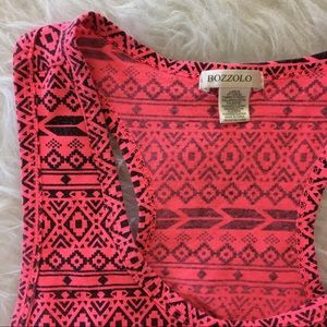 Intimates & Sleepwear - Bright Coral Tribal Print Sports Bra