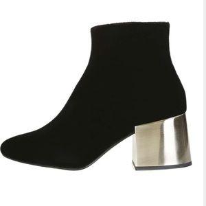 Topshop Shoes - Topshop Mafia crushed velvet black ankle bootie