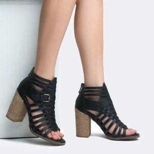 Black Chunky Heel Strappy Gladiator Sandal Bootie