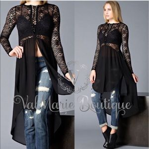 ‼️ONLY 3 LEFT- Elegant Lace Up Long Tunic Top