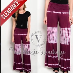 📍CLEARANCE 📍SOFT TIE DYE FOLD OVER PALAZZO PANTS