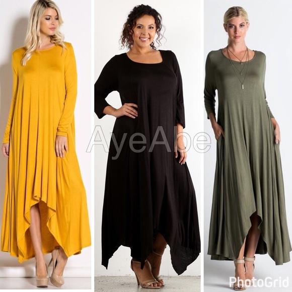 c9f08be9705 Plus size long sleeves asymmetrical hem maxi dress