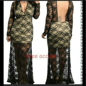 Dresses & Skirts - Plus size black sheer mesh backless maxi dress