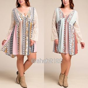 Dresses & Skirts - Plus size boho lace sleeves dress floral print