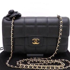 CHANEL Handbags - Authentic Chanel Camellia Chain Chocolate Bar Bag