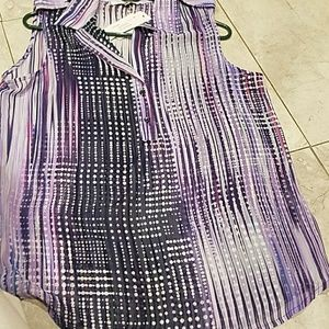 quintessential Tops - Gorgeous Navy purple and magenta flow tunic nwt