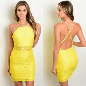 Yellow Lace Open Back Halter Dress