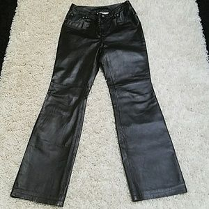 Newport News Pants - Newport News black 100% leather fully lined pants