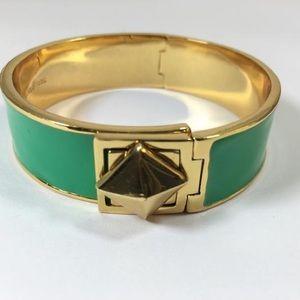 Kate Spade Locked In Gold Green Bangle Bracelet