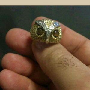 18k Gold Ring Owl