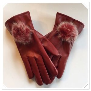 Faux Leather Gloves, NWOT