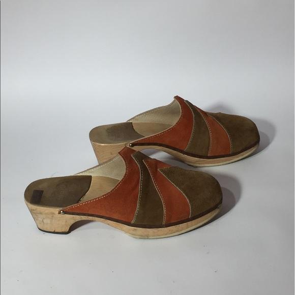 Vintage DrScholls Wooden Sandal Slip Ons Size 7 Navy