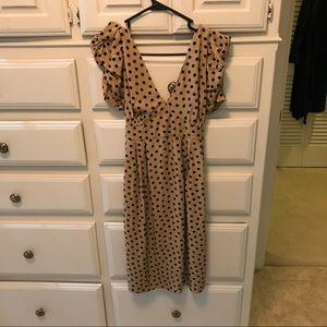 Topshop MATERNITY Dresses & Skirts - TopShop Tan polka dot maternity dress