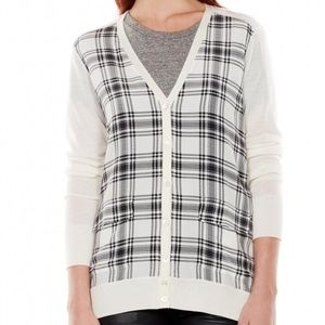 Equipment Loose Fit Plaid Front Cardigan