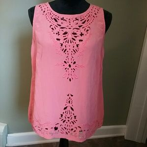 Cynthia Rowley Tops - Cynthia Rowley 100% silk cutout top bright coral