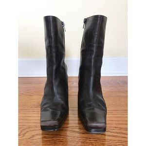 Nine West Shoes - Nine West Size 6 Dark Brown Leather Ankle Boots