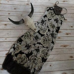 Willow & Clay Dresses & Skirts - Eyelash lace and satin rose print midi
