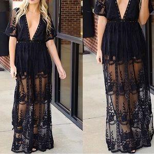 Dresses & Skirts - Maxi dress romper black lace medium