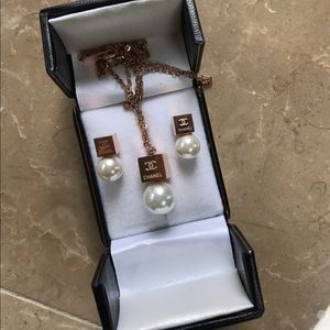 CHANEL Jewelry - New Chanel earrings and necklace set super elegant
