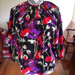 Tucker Tops - Tucker Silk Smocked Floral Blouse