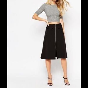 ASOS Aline Midi Skirt w Zip and Pocket Detail NWT