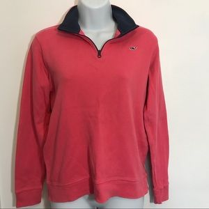 Vineyard Vines Tops - Vineyard Vines Cotton Jersey Fuchsia 1/4 Zip