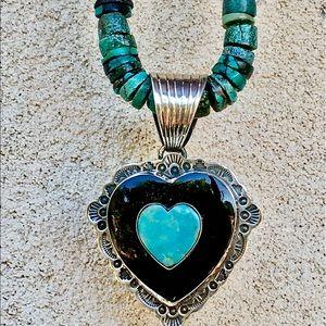 HUGE Dan Dodson Sterling Onyx Turquoise Pendant