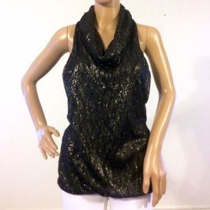 Bebe Black Metallic Lace Cowl Neck Top