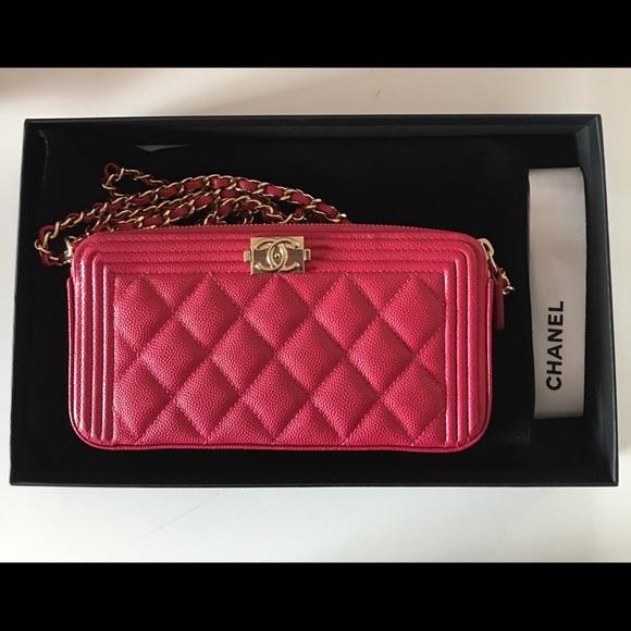 e0e56246a0ccb7 CHANEL Bags | Fuchsia Double Zip Wallet On Chain | Poshmark