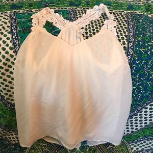 Tops - Cream top with thick flower straps