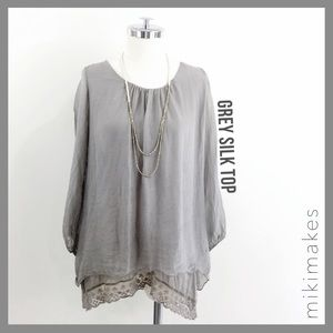 [ prontomoda giusy ]  grey double layer lace tunic