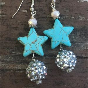 handmade Jewelry - Turquoise Texas Star Earrings Crystal Ball NWT