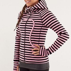 lululemon athletica Sweaters - Lululemon Pink and Black Striped Scuba Sweatshirt