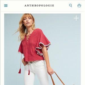 Women cotton lace up blouse