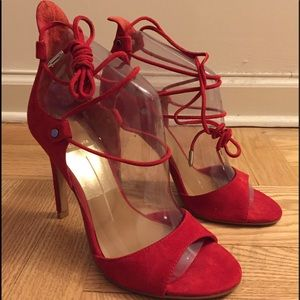 NEW Dolce Vita Size 6 Red Suede Dress Sandals