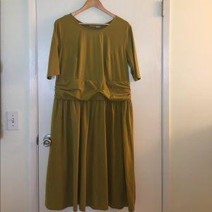 eshakti Dresses & Skirts - ESkakti Chartreuse Green Knit Midi Dress 20W