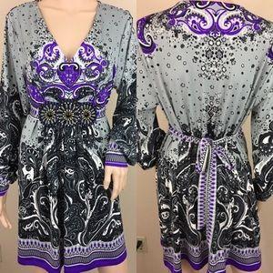 ECI beaded tie waist boho dress