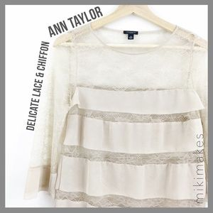 [ ann taylor ] pink nude silk lace tiered blouse