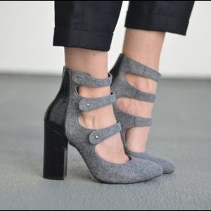 Perfect condition strappy grey boot heels