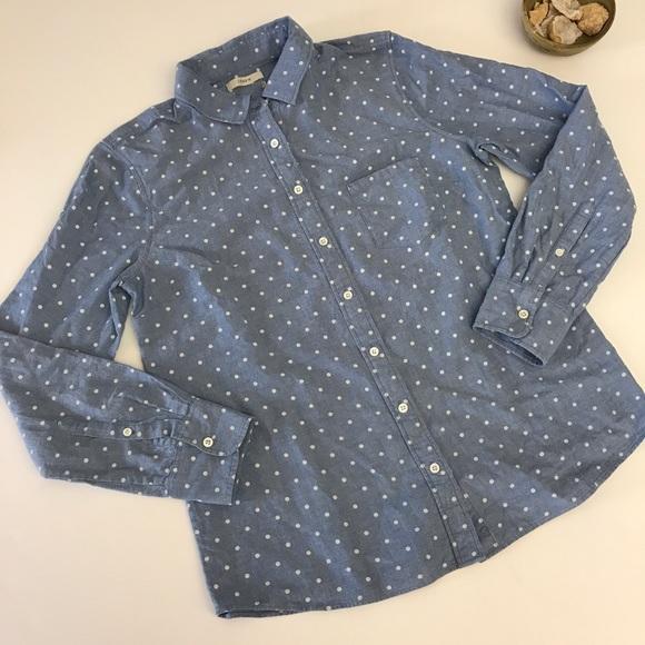 J crew polka dot chambray button down shirt blue for Button down polka dot shirt