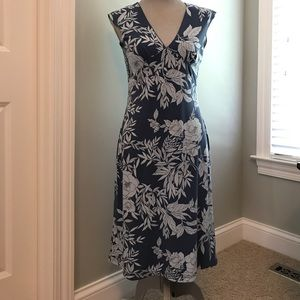 Blue floral mid-lenth sleeveless Old Navy dress