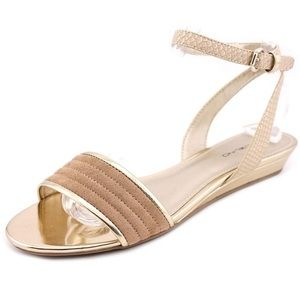 Bandolino Shoes - Metallic Gold and Faux Suede Ankle Strap Sandals